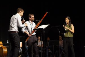 Bassoonist Brad Balliett, Oboist James Austin Smith, and Clarinetist Alicia Lee of Decoda perform at the 21st-C Symposium. CAROLINE KNIGHT / THE DEPAUW