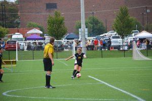 Midfielder Alex Berkley helps the Women's Soccer team shutout Rose-Hulman (5-0) this past Saturday. PHOTO COURTESY of DEPAUW UNIVERSITY