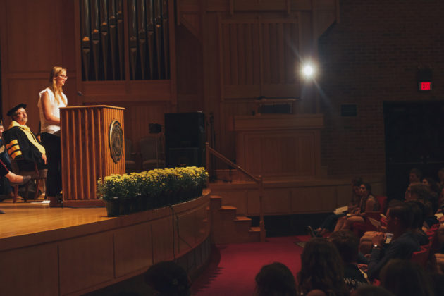 DePauw student body president Erika Killion addresses class of 2021 in opening convocation