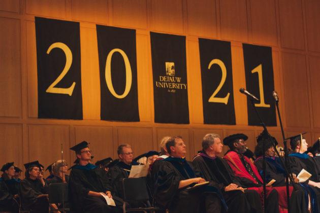 DePauw University professors wait to great class of 2021