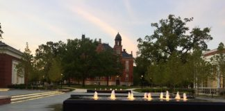 Fountains at Sunset on Stewart Plaza