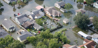 Overhead view of damage from Hurricane Harvey