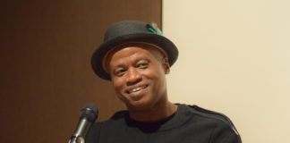 Poet Randall Horton, assistant professor of English at the University of New Haven in Connecticut, reads poetry at the Kelly Writers Series Wednesday nightMADELINE GREEN