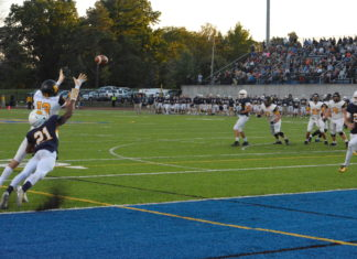 Senior wide receiver Nolan Ayers scoring his first of two touchdowns against Mount St. JoeBILL WAGNER.