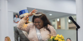 CMYK-Diamond McDonald walks off the stage in the UB Building to a round of applause after being crowned Old Gold QueenNATALIE BRUNINITHE DEPAUW