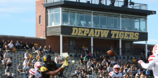Senior wide receiver Ryan Grizzard attempts to catch a pass in the end zone during DePauw's 52-6 loss to WittenbergLinda Striggo