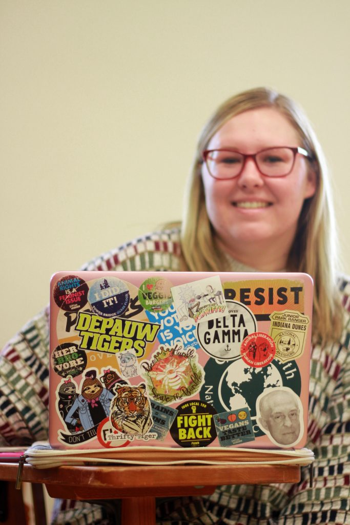 """Every part of my life has stickers on it. I like having lots of things to look at, and it really shows who I am."" -Anna Werkowski, Senior (Photo by Abby Cook)"
